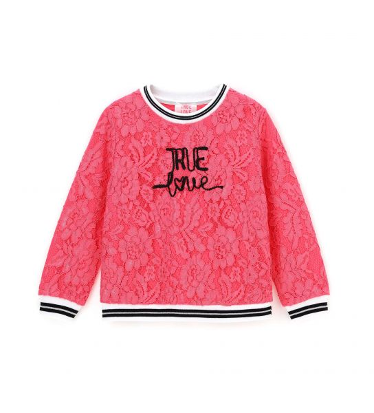 LACE SWEATSHIRT AND FRONT PRINT