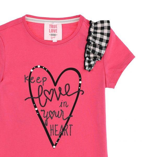 LONG SHORT SLEEVE T-SHIRT WITH FRONT PRINT