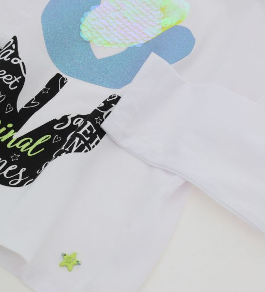 T-SHIRT WITH GLITTER AND SEQUINS