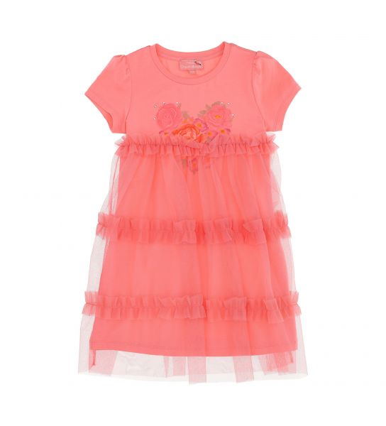 DRESS IN STRETCH COTTON WITH TULLE AND RHINESTONES