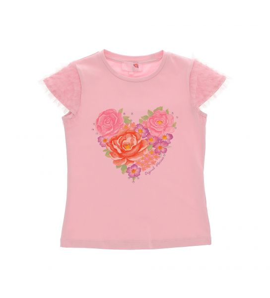 T-SHIRT WITH TULLE FLOUNCES