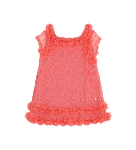 DRESS IN ELASTICIZED LACE WITH FLOWERS IN ORGANZA