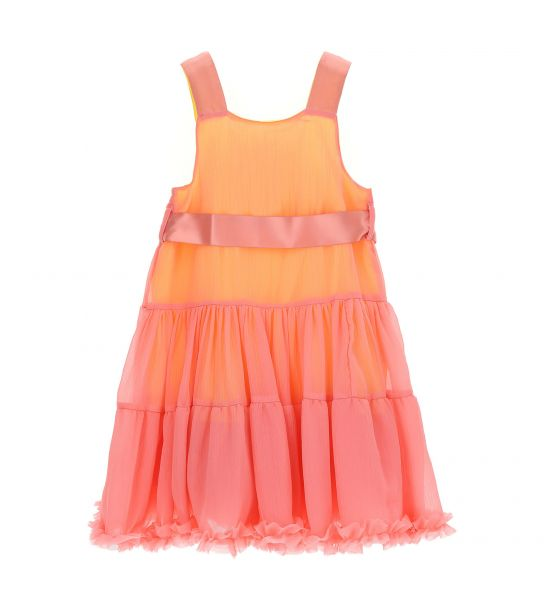 DRESS IN FLOUNCE CREPE WITH SATIN STRAPS