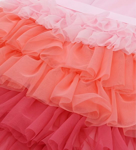 DRESS IN PUNTO MILANO WITH COLORFUL TULLE