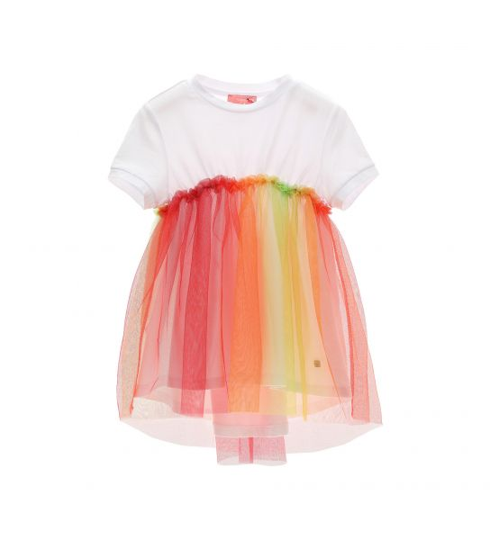 LONG T-SHIRT WITH COLORFUL TULLE