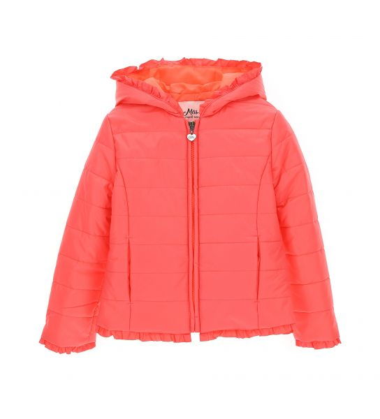 NYLON FABRIC JACKET WITH RUFFLES