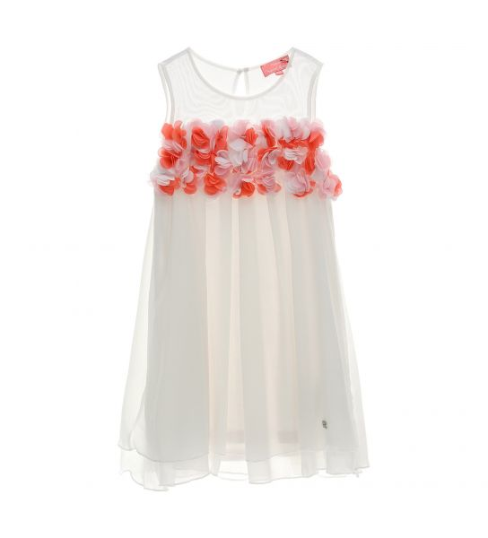CREPE DRESS WITH ORGANZA FLOWERS