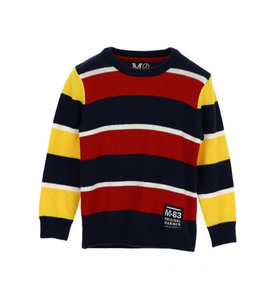 Boy's long-sleeved sweater with a contrasting striped pattern and double-ribbed elasticated hems.