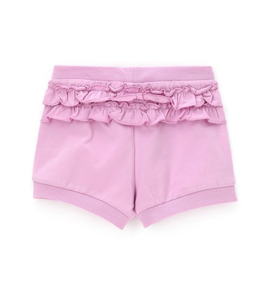 SHORT IN STRETCH COTTON AND RUFFLES