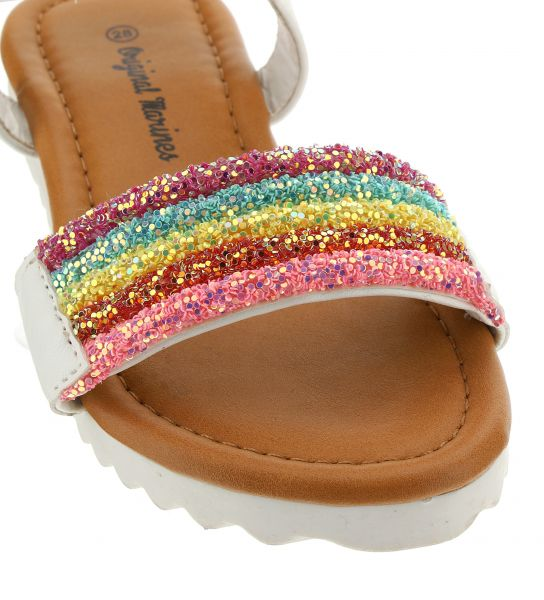 FAUX LEATHER SANDAL WITH GLITTER PATCH