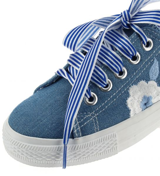 GLITTER DENIM SHOE WITH FLORAL EMBROIDERY