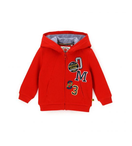SWEATSHIRT WITH HOOD LINED IN COTTON