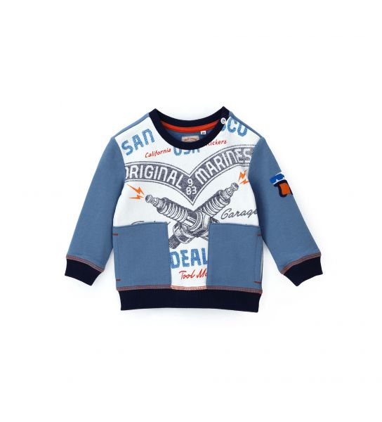 COTTON SWEATSHIRT WITH ALL OVER PRINT