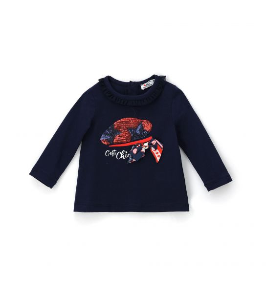 LONG SLEEVE T-SHIRT WITH ROUCHE NECK