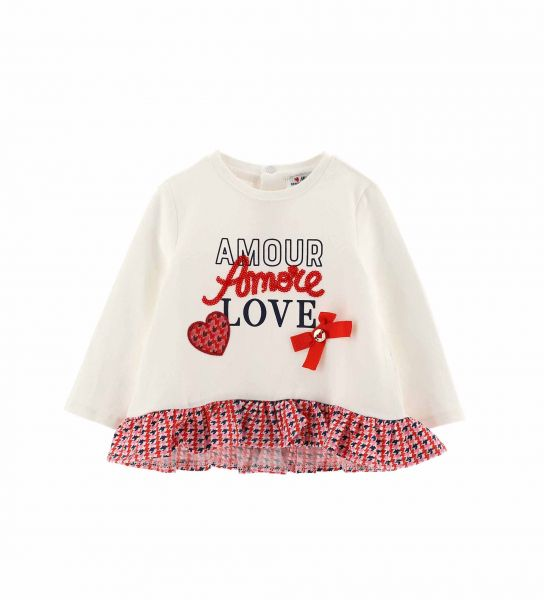 LONG SLEEVE T-SHIRT WITH PRINTED FLOUNCES