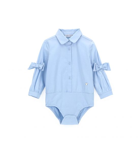 COTTON SATIN BODY SHIRT WITH BOW