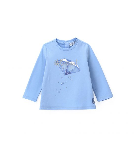 COTTON T-SHIRT WITH COLORED RHINESTONES