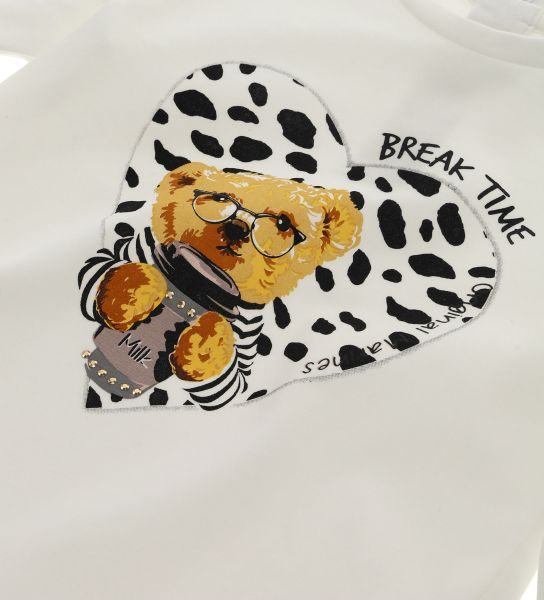 COTTON T-SHIRT WITH PRINTS AND RHINESTONES