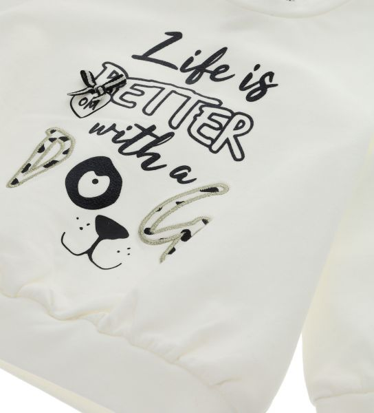 COTTON SWEATSHIRT WITH FRONT BOW