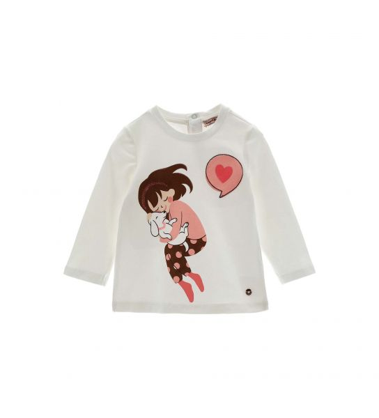 T-SHIRT WITH GLITTER AND RHINESTONES IN FRONT