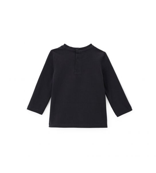 COTTON T-SHIRT WITH ECO-LEATHER PATCH