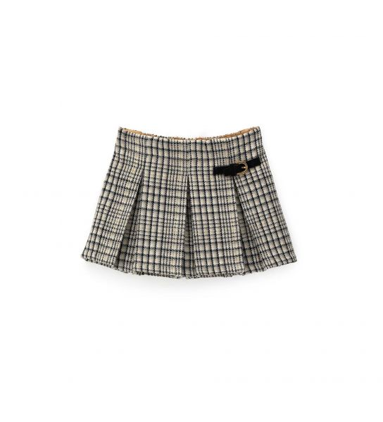 WOOL BLEND FABRIC SKIRT WITH PENCE