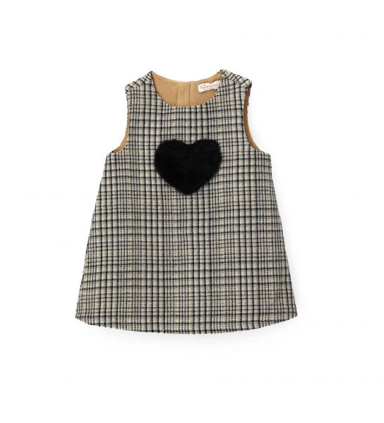 DRESS IN MIXED WOOL FABRIC WITH PATCH
