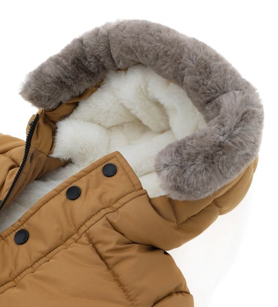 LONG JACKET WITH FAUX FUR HOOD