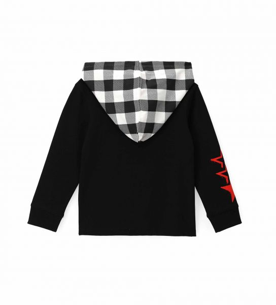 COTTON T-SHIRT WITH PRINTED HOOD