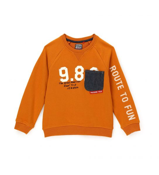SWEATSHIRT WITH POCKET AND DENIM PATCHES