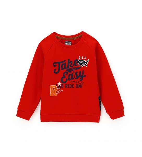 COTTON SWEATSHIRT WITH PRINT AND PATCH