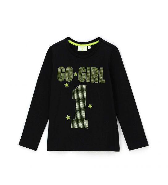 T-SHIRT WITH SEQUINS AND RHINESTONES