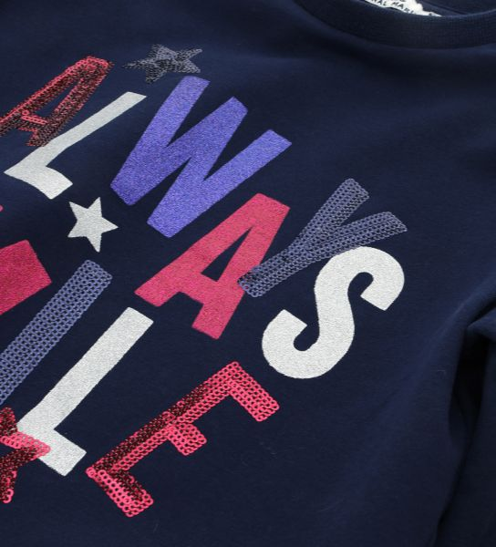SWEATSHIRT WITH PRINTS, GLITTERS AND SEQUINS