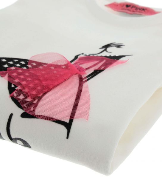 T-SHIRT CON PATCH E TULLE