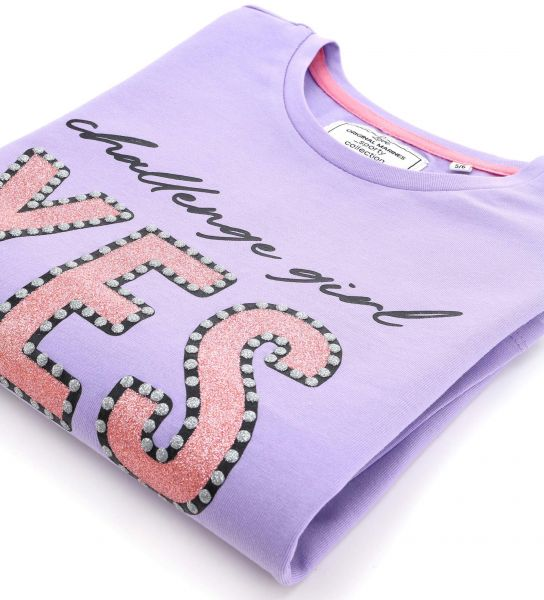 COTTON T-SHIRT WITH GLITTER DETAILS