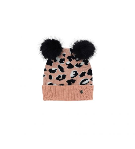 KNIT HAT WITH EARS AND POMPON