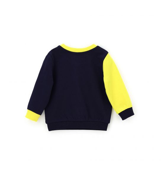SWEATSHIRT WITH ROUND NECK AND RELIEF PRINT