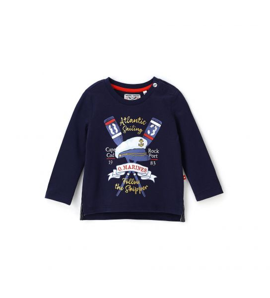 NEWBORN T-SHIRT WITH LONG SLEEVE AND ROUND NECK
