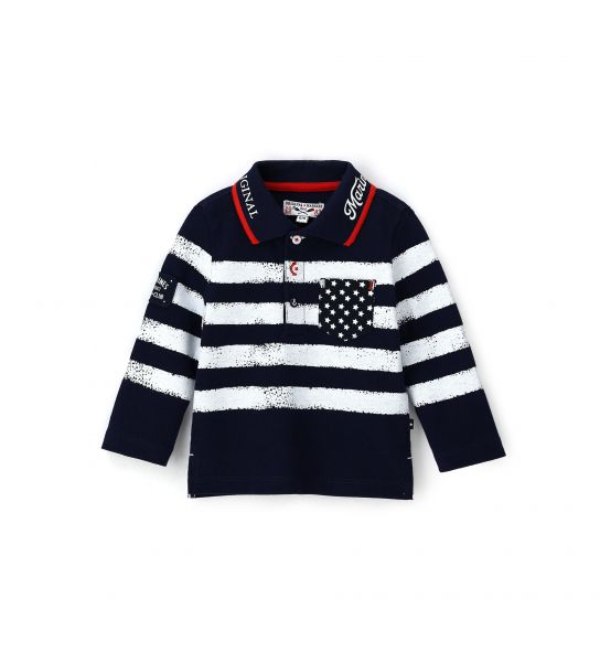 NEWBORN POLO SHIRT IN PIQUET WITH LONG SLEEVE