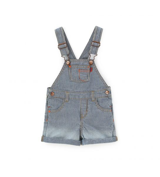 SHORT DUNGAREES DYED IN DENIM YARN