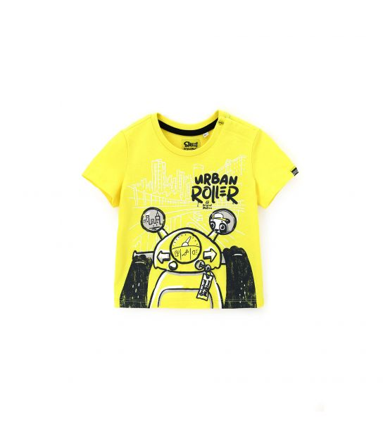 T-SHIRT CON PATCH IN GOMMA DIETRO