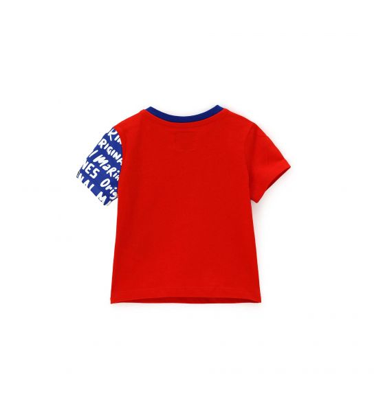 SHORT SLEEVE T-SHIRT WITH PRINT AND PATCH