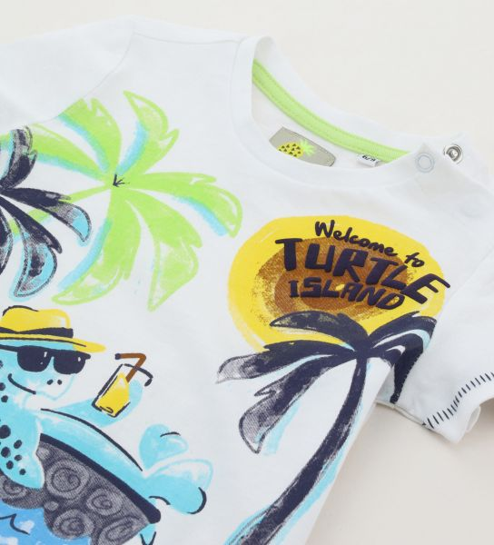SHORT SLEEVE T-SHIRT WITH FRONT AND BACK PRINTS