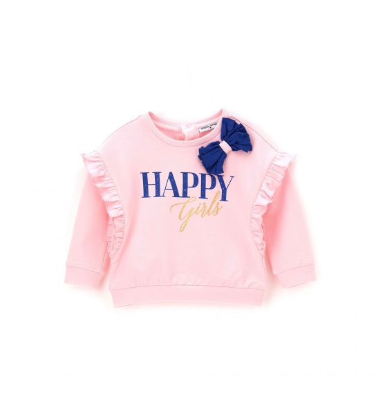 SWEATSHIRT WITH CHIFFON BOW AND PRINT WITH RHINESTONES