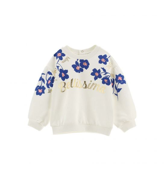 SWEATSHIRT WITH LONG PUFF SLEEVE AND PRINT