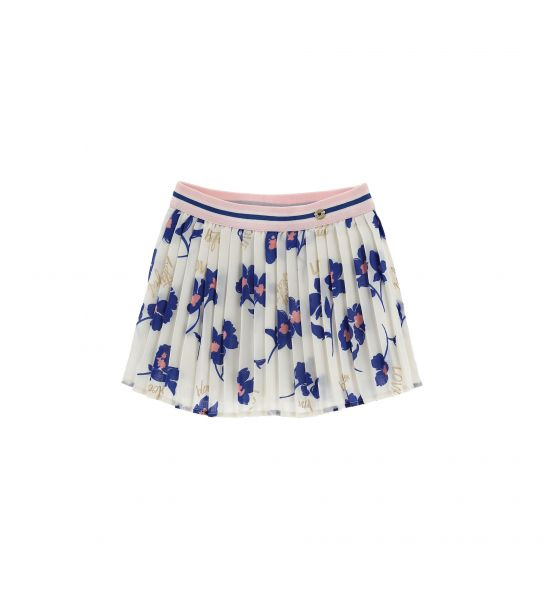 SKIRT IN PLEATED CREPE AND ALL-OVER PRINT