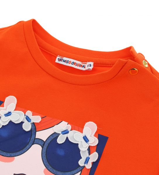 STRETCH COTTON T-SHIRT SHORT SLEEVE AND RUFFLE