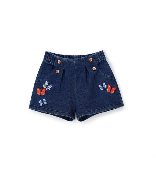 SHORTS IN DENIM ELASTICIZZATO CON TASCHE