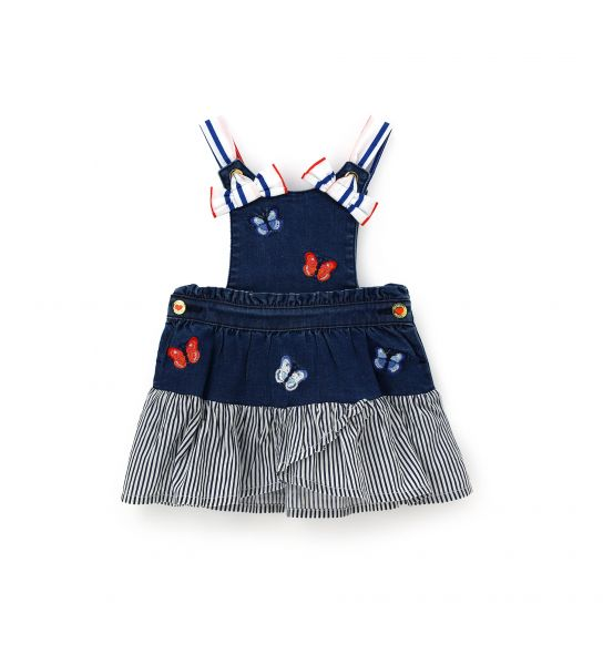 SHORT DENIM DUNGAREES WITH COTTON FLOUNCE