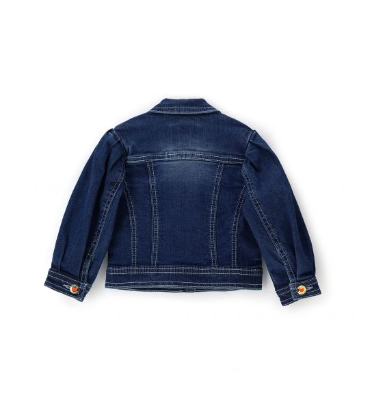 COTTON DENIM JACKET WITH BALLOON SLEEVES